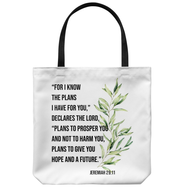 LW - FOR I KNOW THE PLANS I HAVE FOR YOU Jeremiah 29:11 * Tote Bag - ArtsyMod.com