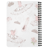 BALLERINA WORLD - Pretty Pink Dress Slippers Crown On White Background Spiralbound Notebook