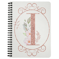 I MONOGRAM - Pretty Pink Watercolor Floral Spiralbound Notebook