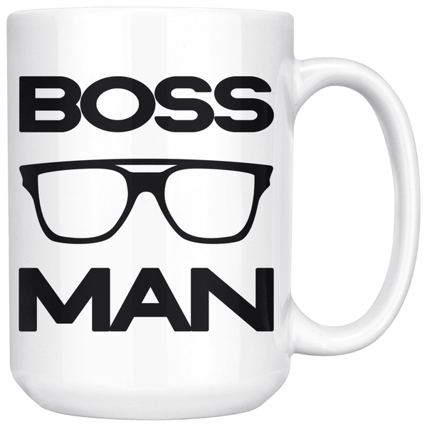 BOSS MAN w/ GLASSES Gift For Boss Day * White Coffee Mug 15oz. STYLE #1 - ArtsyMod.com