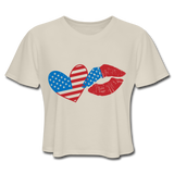 4th of July American Flag HEART LIPS Women's Flowy Cropped T-Shirt - ArtsyMod.com
