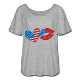4TH OF JULY AMERICAN FLAG HEART LIPS Women's Flowy T-Shirt - ArtsyMod.com