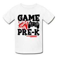 GAME ON PRE-K - Gildan Ultra Cotton Youth T-Shirt (Red Black Print) - white