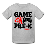 GAME ON PRE-K - Gildan Ultra Cotton Youth T-Shirt (Red Black Print) - heather gray
