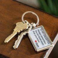 TO MY DAUGHTER ALWAYS REMEMBER Love MOM Metal Keychain - ArtsyMod.com