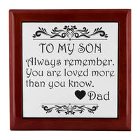 TO MY SON ALWAYS REMEMBER From DAD Watch Jewelry Box Jewelry Box Red Mahogany