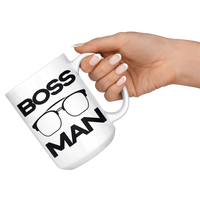 BOSS MAN w/ GLASSES Gift For Boss Day * White Coffee Mug 15oz. STYLE #4 - ArtsyMod.com