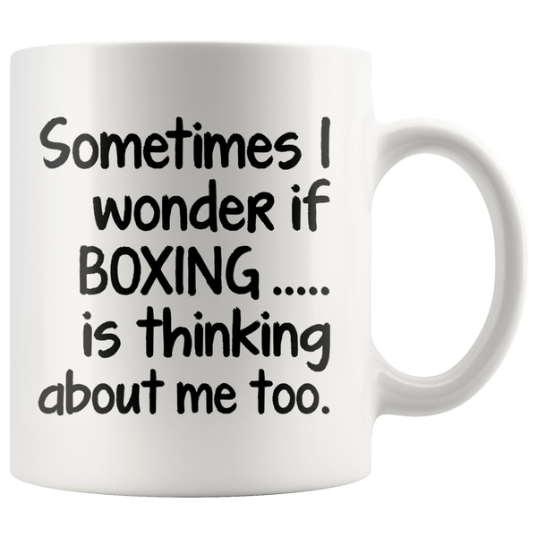 I WONDER IF BOXING * White Coffee Mug - TL