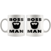 BOSS MAN With BEARD Gift For Boss Day * White Coffee Mug 11oz. STYLE #5 - ArtsyMod.com