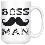 BOSS MAN With MUSTACHE Gift For Boss Day * White Coffee Mug 15oz. STYLE #3 - ArtsyMod.com