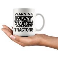WARNING May Start Talking About TRACTORS, Funny Farmer Rancher Tractor Saying Gift, Farm Ranch Life Gifts * White Coffee Mug - ArtsyMod.com