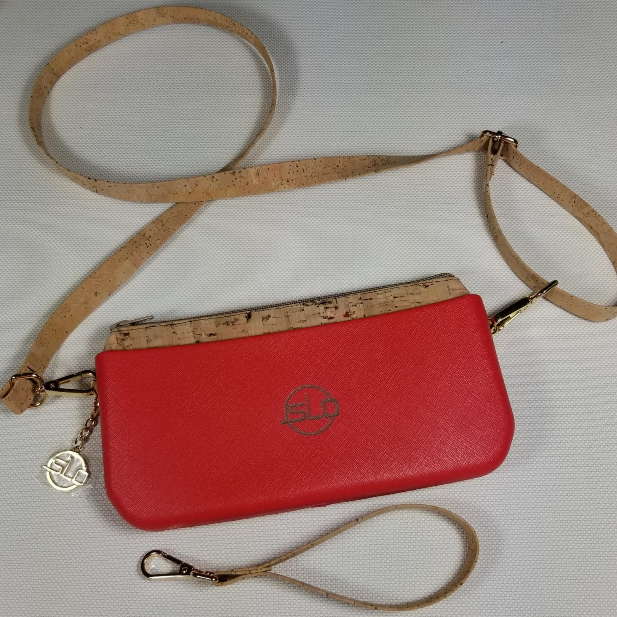 SLO Fashion Clutch - Red Body - Natural Cork