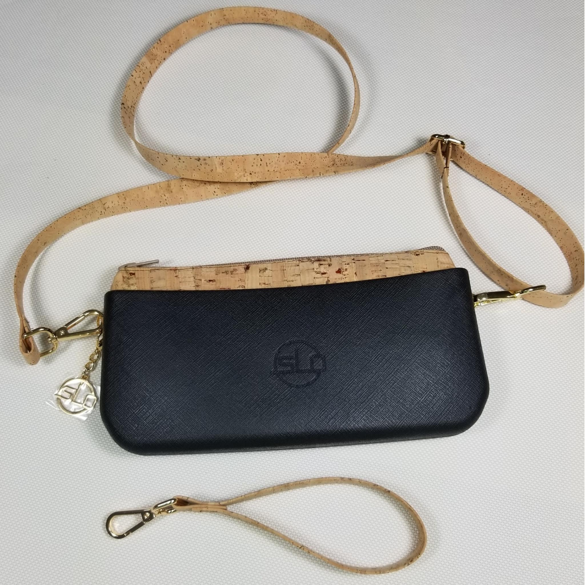 SLO Fashion Clutch - Black Body - Natural Cork