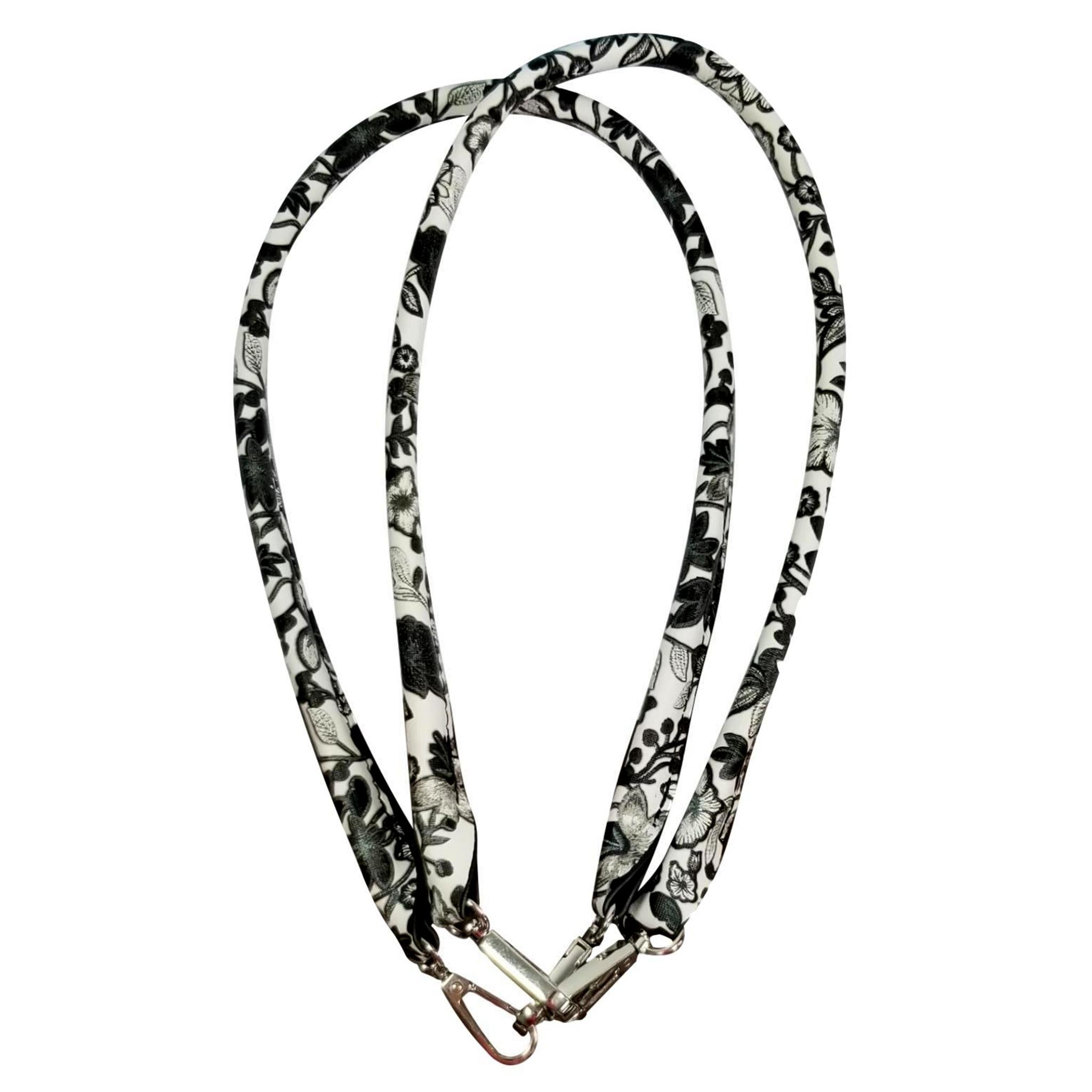 Designer Strap Handle - Floral Black and White