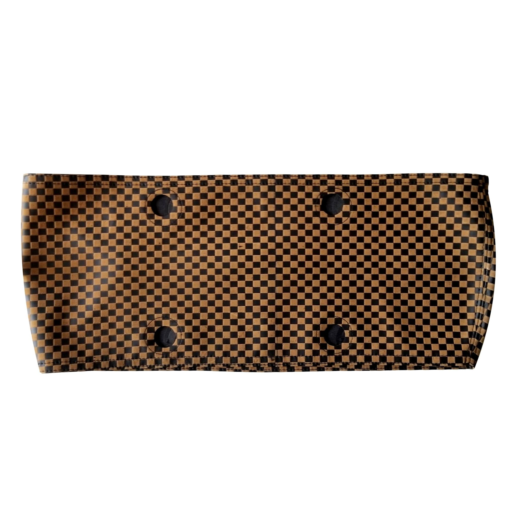 SLO Fashion Handbags. Faux Leather Black and Tan Checked Trim accessory