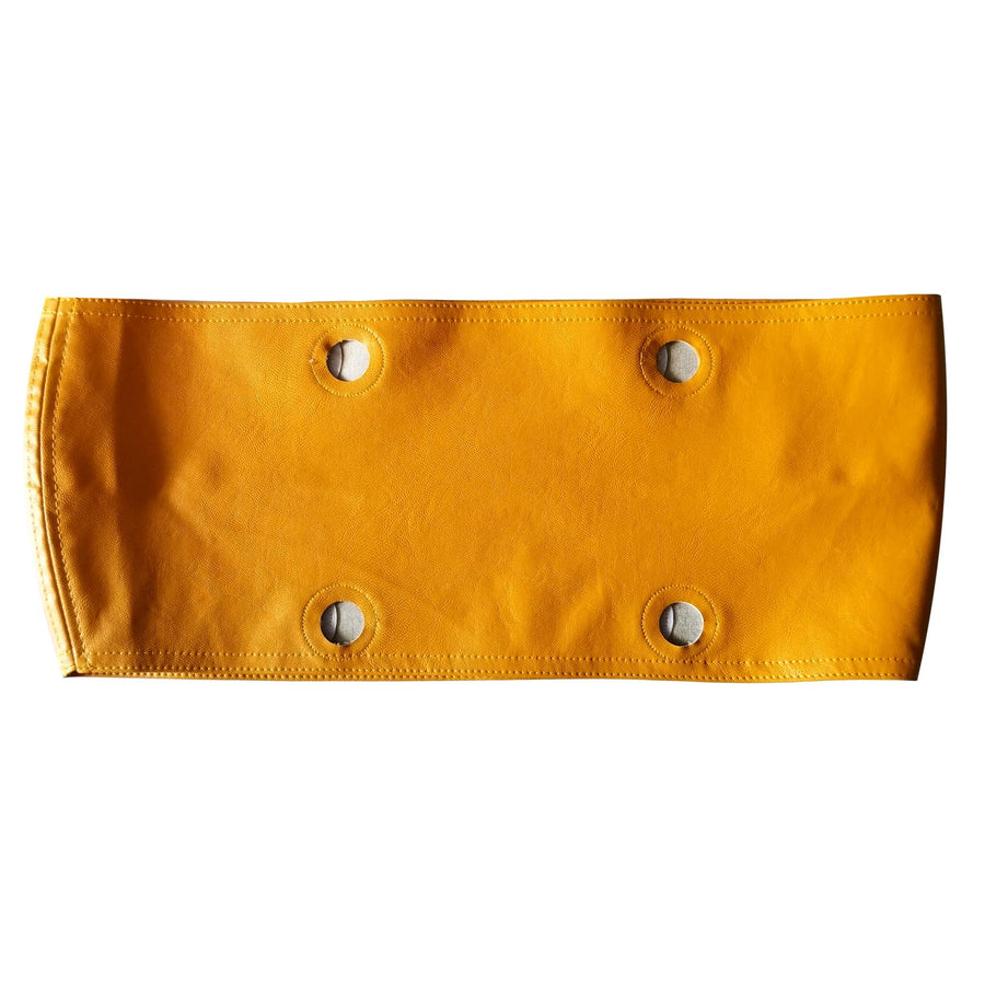SLO Fashion Handbags. Faux Leather Mustard Yellow Trim accessory