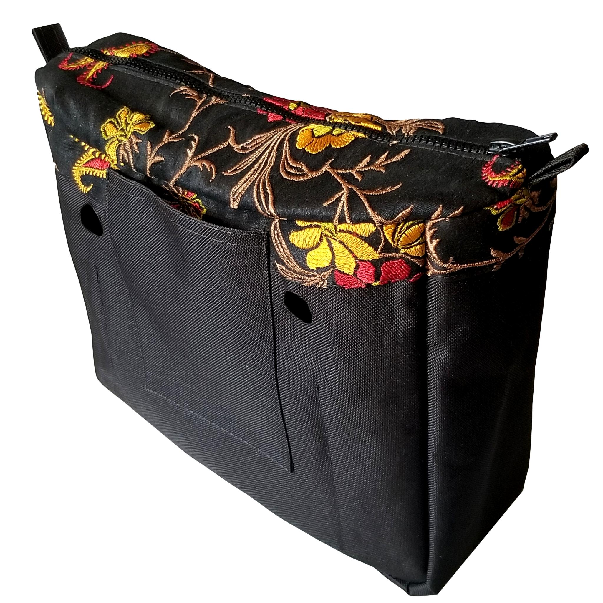 Designer Insert Silk Black and Floral Pattern