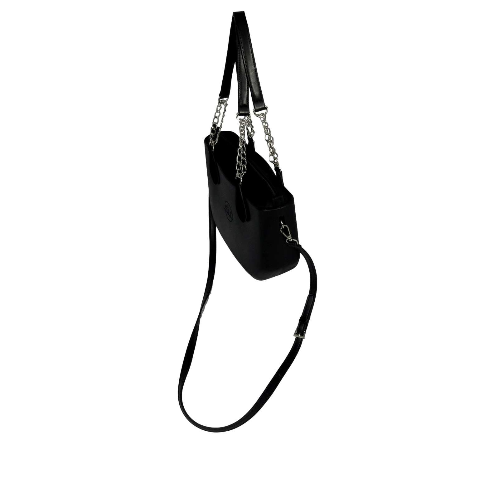 SLO Mini - Black body with top zippered Mini Insert Organizer, interchangeable handle choice and adjustable length shoulder strap.