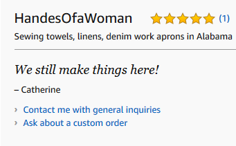 Handes Of a Woman Wins 5 star Review on Amazon Handmade