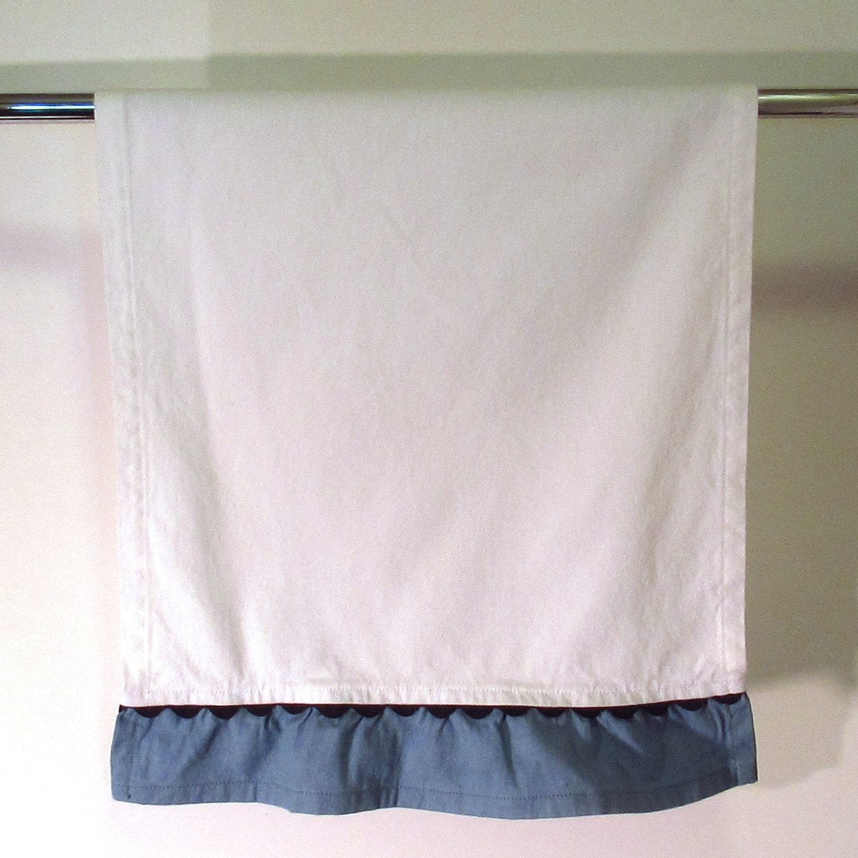 Blue Ruffled Towel With Black Rick Rack