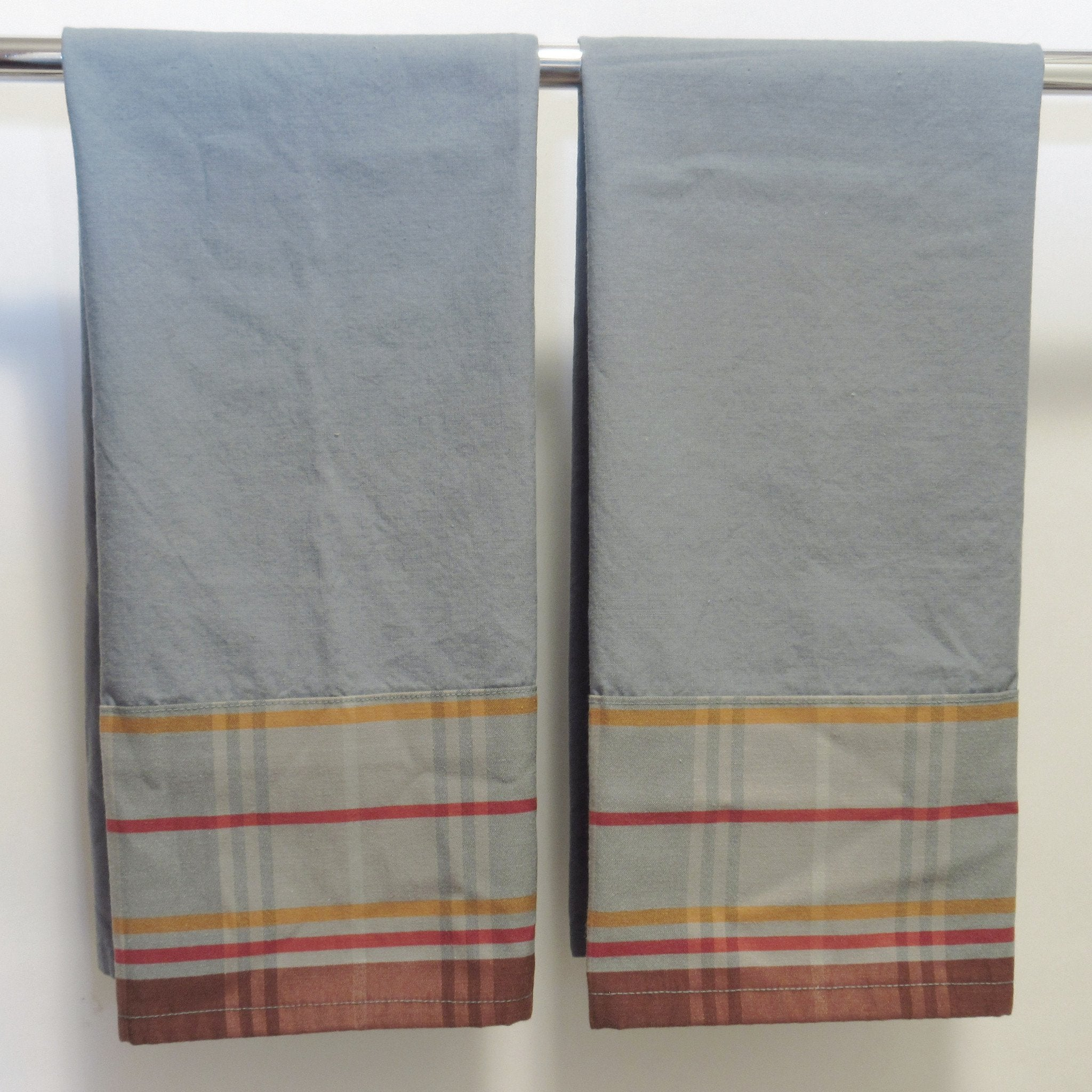Drab Blue With Plaid Band Towel Set of 2