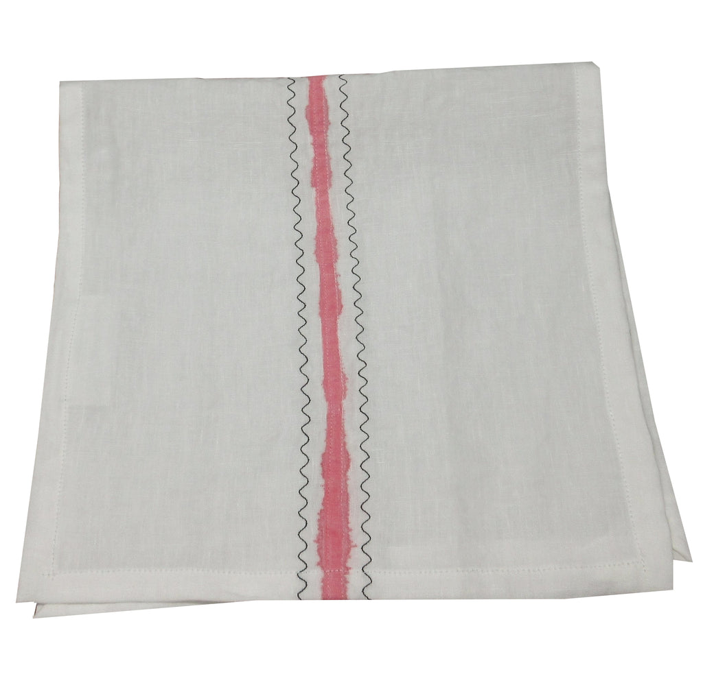 Flat-felled White Linen Art Towel with Pink Stripe and Black Embroidery