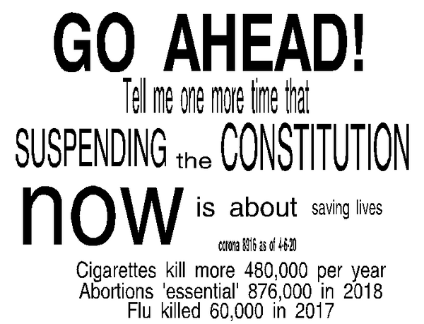 Go Ahead! Tell me again, one more time, that suspending the constitution is about saving lives