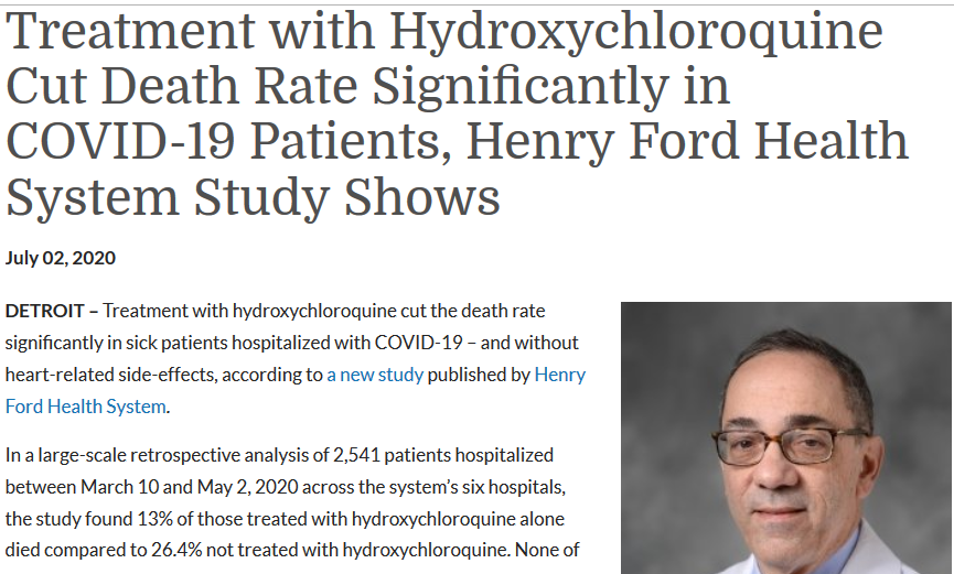 Hydroxychloroquine Cuts COVID-19 Death Rate says Henry Ford Health System