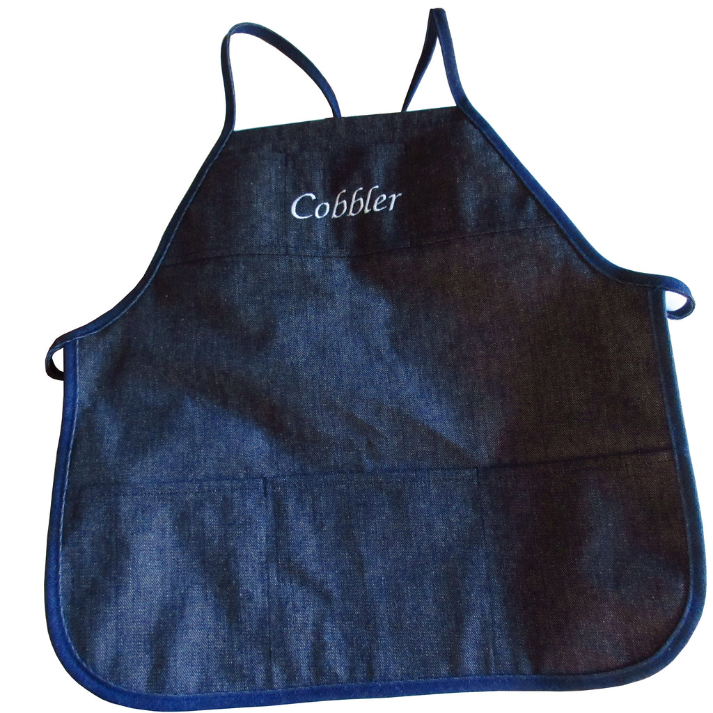 6 Pocket Denim Cobbler Apron with Strap and Embroidery Options