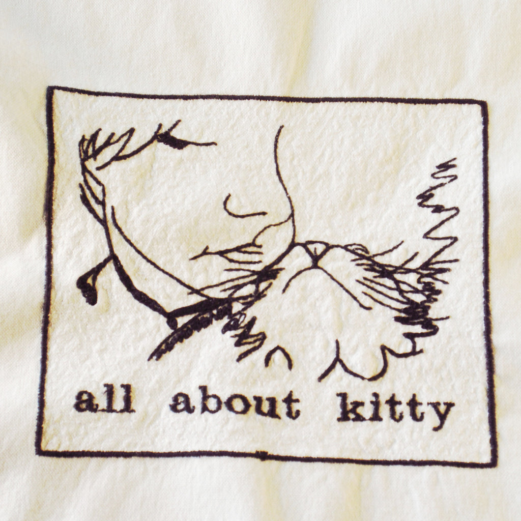 All About Kitty Line Embroidered Cotton Towel by Colene Beck
