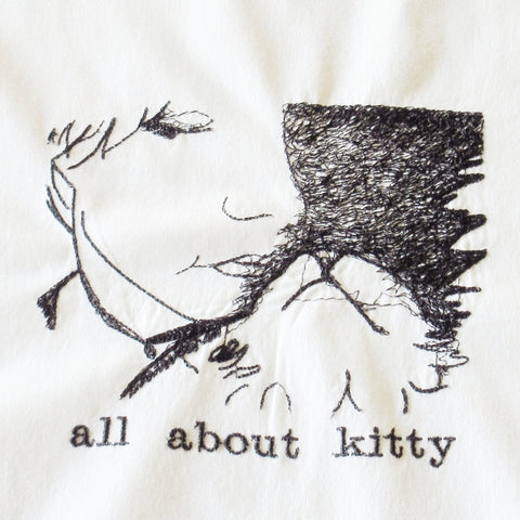 All About Kitty Scribble Embroidered Cotton Towel by Colene Beck