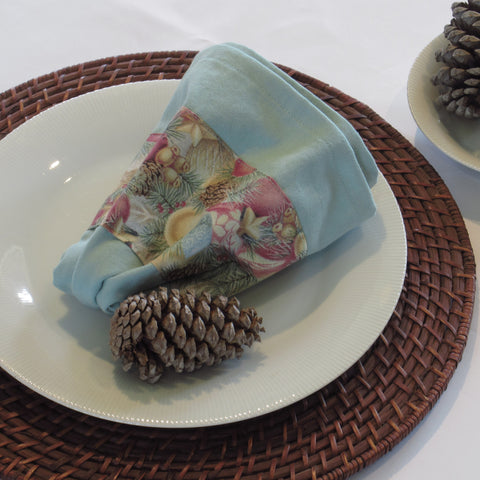Hand-dyed aqua Christmas towel with floral band