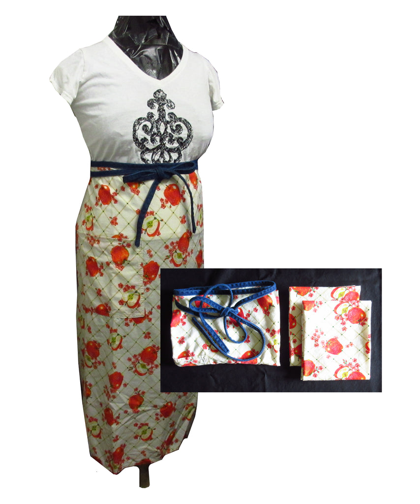 Apple Bistro Apron With Denim Ties and 2 Towels