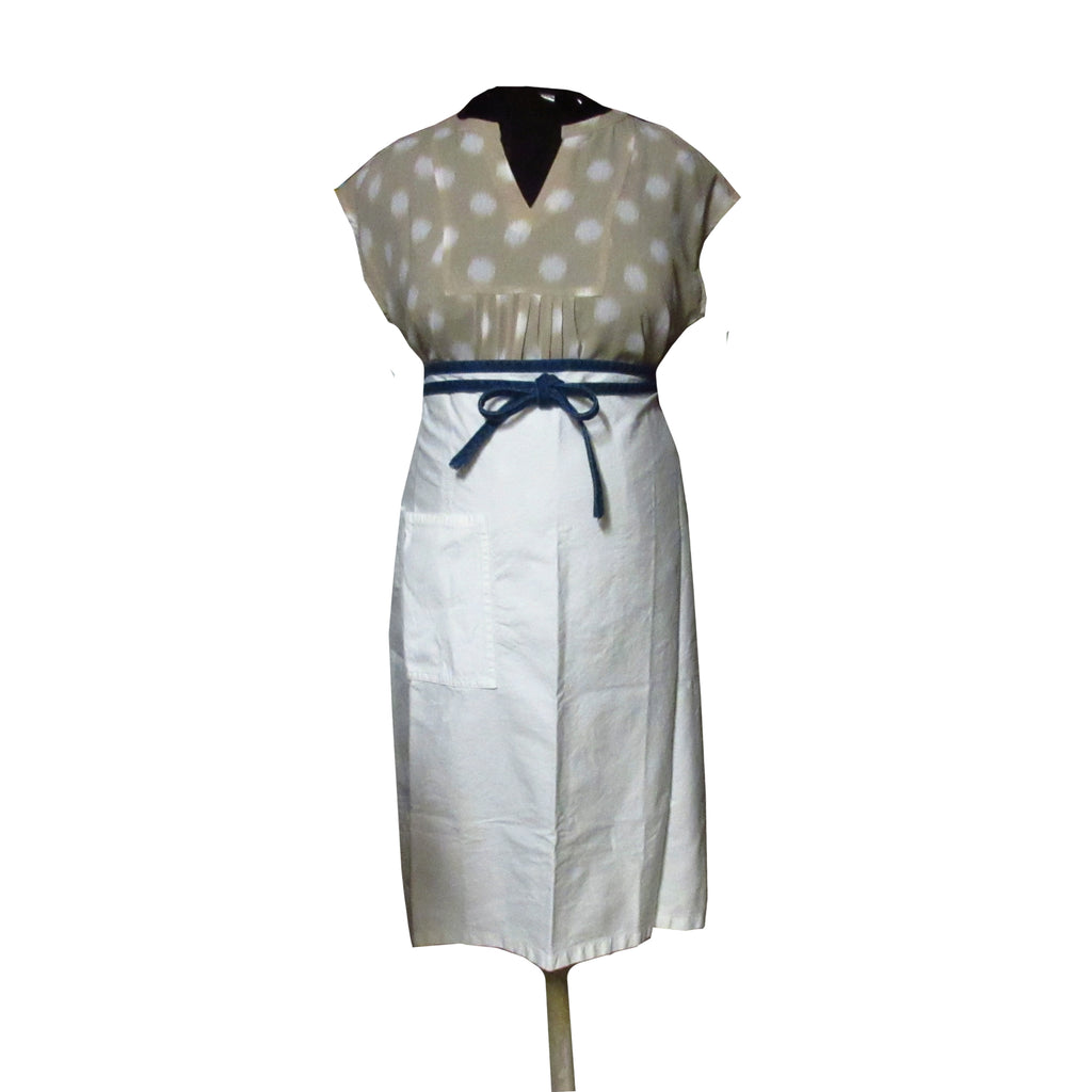 Bistro Apron With Pocket And Denim Ties
