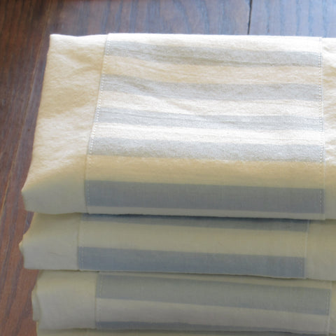 blue and white stripe banded towel - only 2 left!