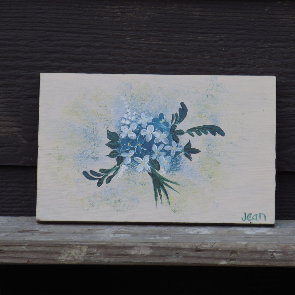 Blue Posies Hand Painted Plaque by Jean Sport