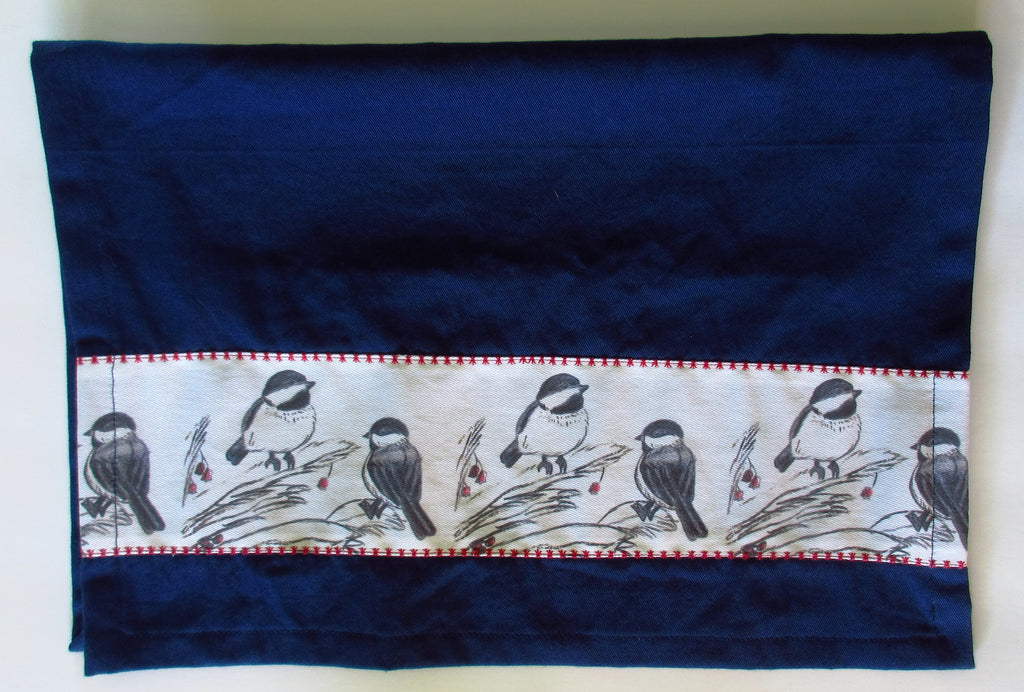 Chickadee banded towel-contact us for special orders