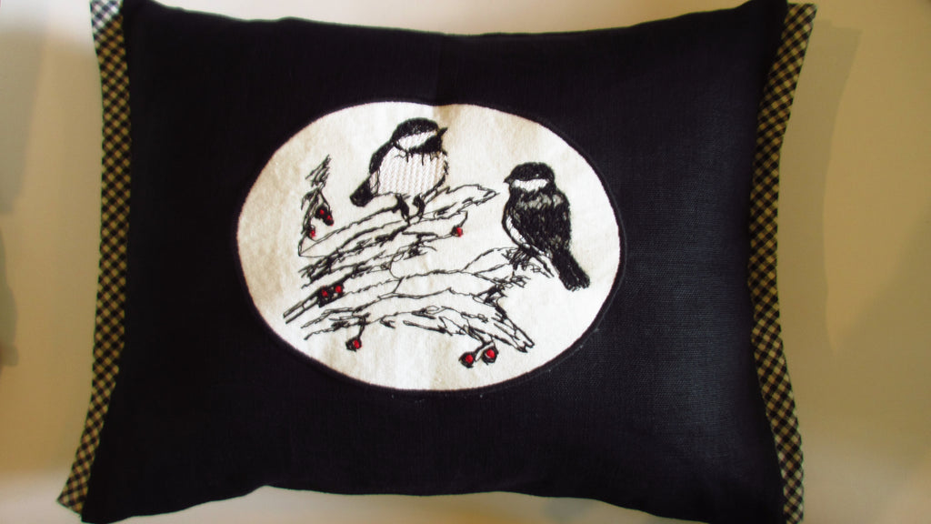 chickadee black linen pillow cover