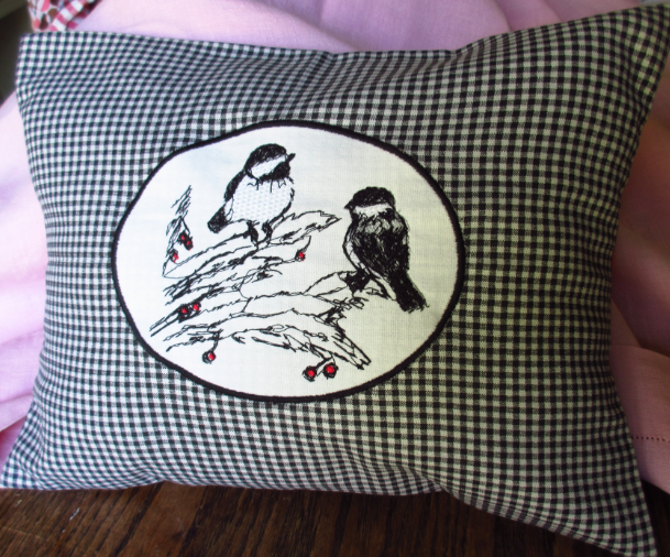 chickadee black and white gingham pillow cover