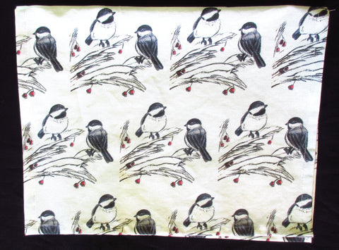 Chickadee Print Cotton Towel by Ethan Coker