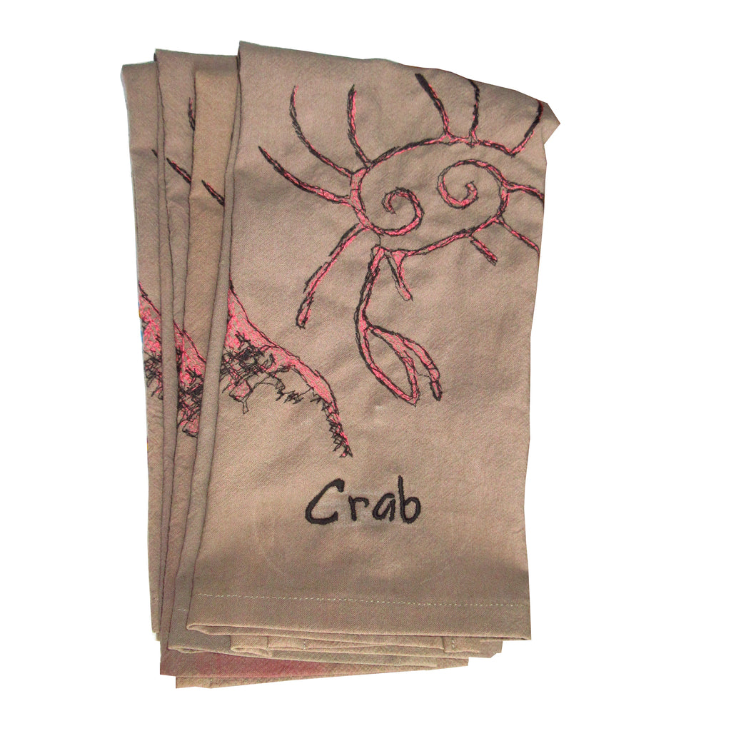 handesofawoman coral crab embroidered art towel from original by haley brianna atwell