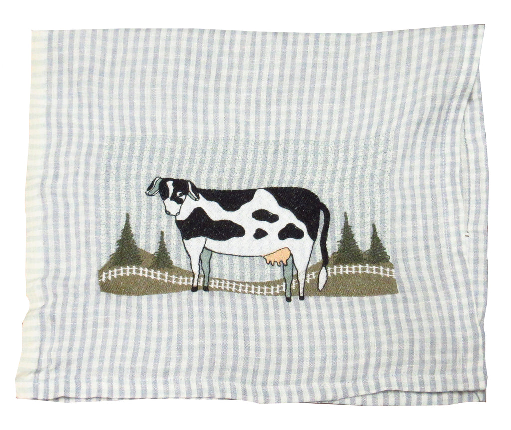 Cow by Teresa Blackledge Davis on Lavender Stripe Linen Towel