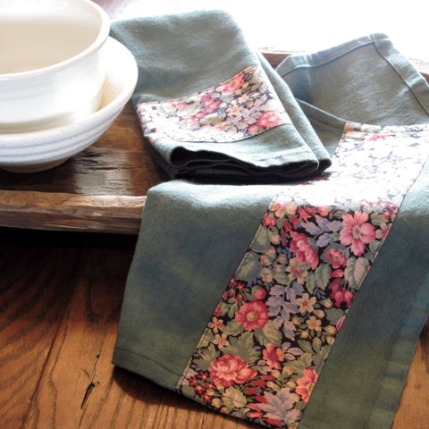 dark green with pink floral band towel - only 2 left!