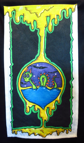 Dragon in the Hourglass Art Print towel by Shane Beck