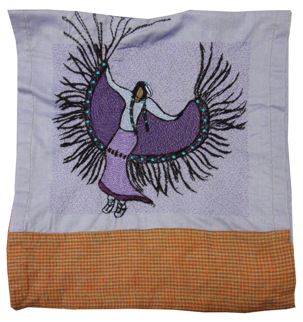 Fancy Dancer by Artist Kelly J on Rusty Orange and Lavender Banded Towel