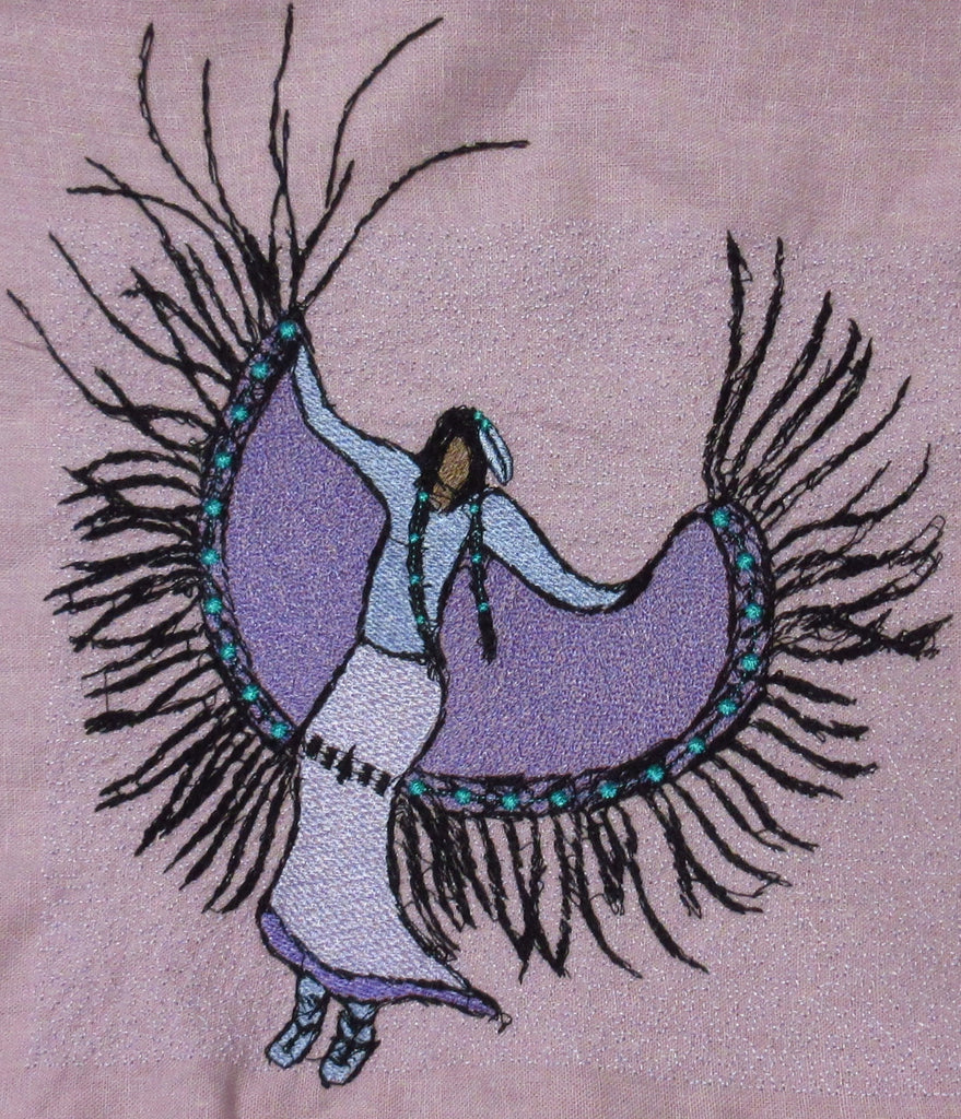 Fancy Dancer by Artist Kelly J on Lavender Linen Rayon Hand Towel