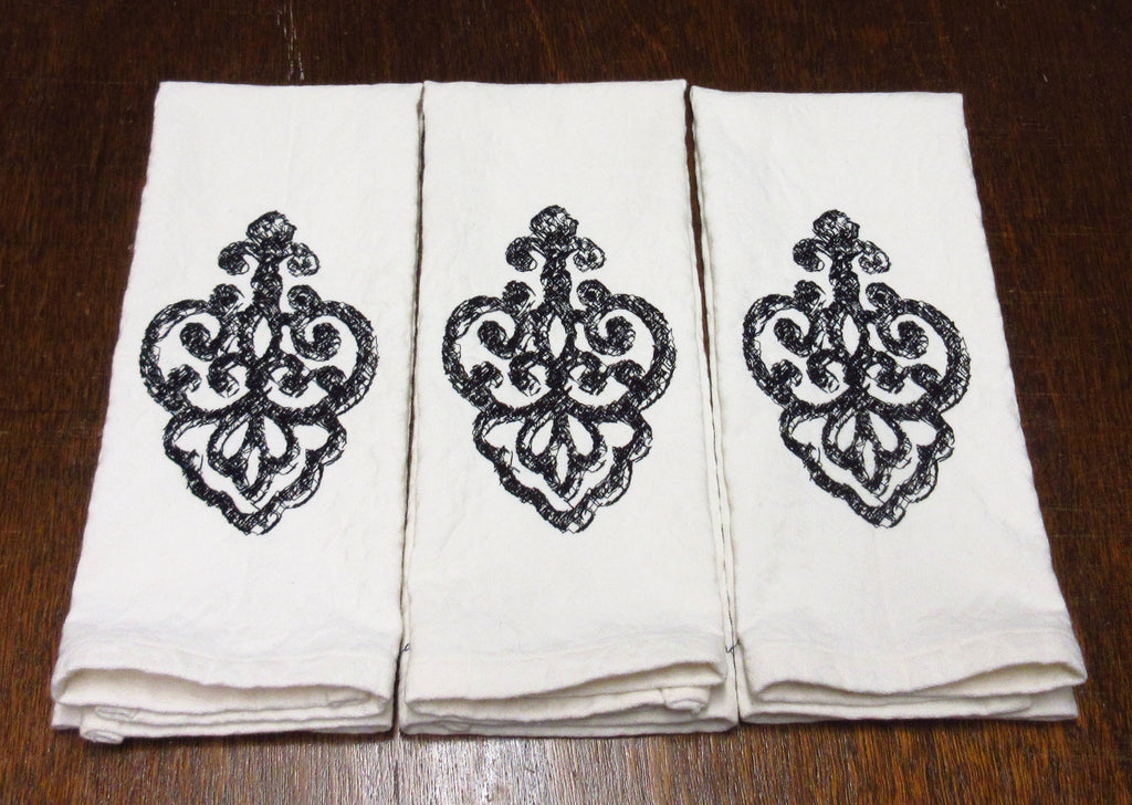 Fleur-de-lis-ish Embroidered Cotton Damask Towel