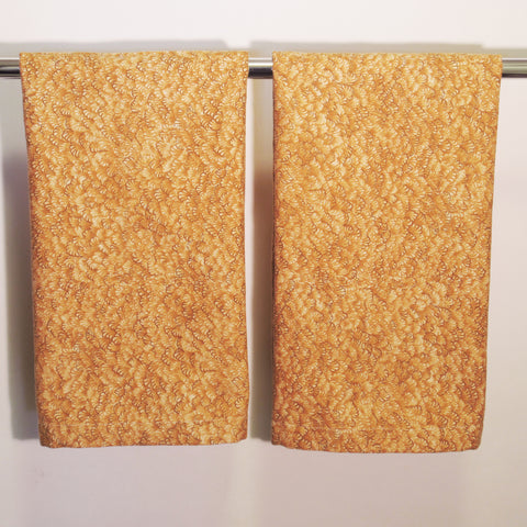Set of 2 Gold Print Cotton Towel or Napkin