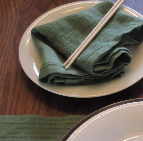 grass green linen towel, hand-dyed