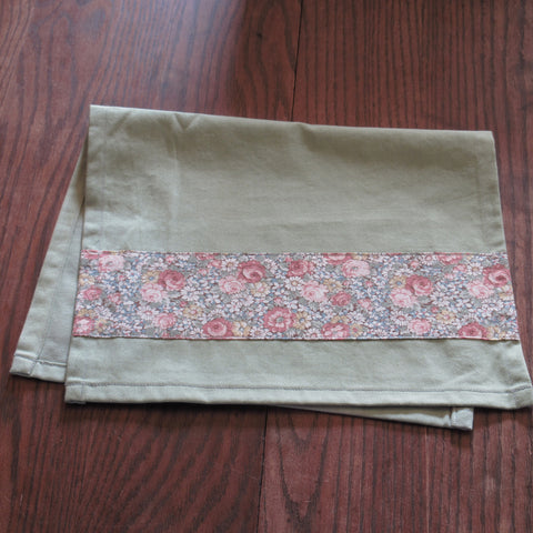 Grass Green Hand-Dyed Cotton Towel with Pink Floral Band